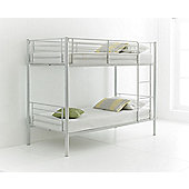 Happy Beds Cherry 3ft White Metal Bunk Bed 2x Orthopaedic Mattress