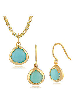 Gemondo Amazonite 'Diantha' Pastel Gold Plated Silver Drop Earring & 45cm Necklace Set