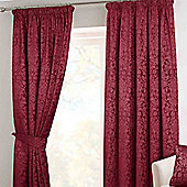 Homescapes Wine Velvet Jacquard Wine Pencil Pleat Lined Curtain Pair, 90 x 54""