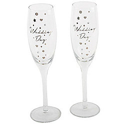 Wedding Day Champagne Flutes - Pair