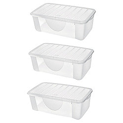 4.7L Plastic Shoe Storage Box, Set of 3