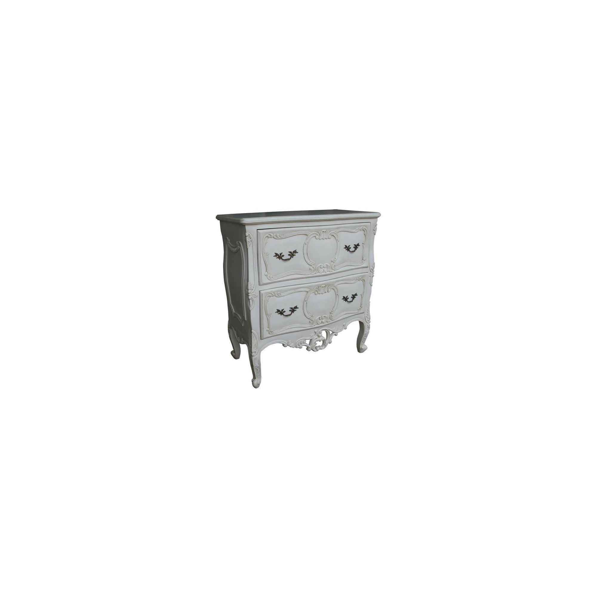 Lock stock and barrel Mahogany Rococo 2 Drawer Chest in Mahogany - Antique White at Tesco Direct