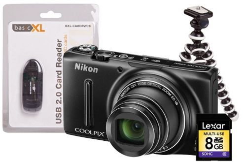 Nikon Coolpix S9500 Black Camera Kit inc Flexi Tripod, 8GB SD Card & USB Reader