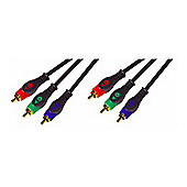 Nikkai RGB Component Video Phono RCA Cable Lead Gold 3M
