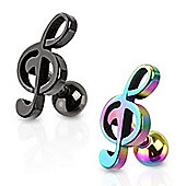 Pair Of Stainless Steel Treble Clef Tragus Studs
