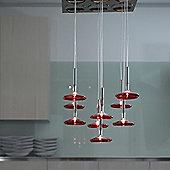 Metal Lux Capriccio Nine Light Pendant - Red Pirex