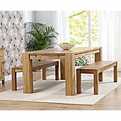 Mark Harris Furniture Madrid Chunky Solid Oak Dining Table with Two Barcelona Dining Benches