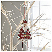 Gisela Graham Vintage Wood Santa Hanging Decoration