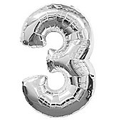 Silver Number 3 Balloon - 34' Foil (each)