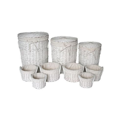 Wicker Valley Round Laundry and Storage Basket in White (Set of 9)