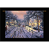 Thomas Kinkade Hometown Christmas Illuminated Hanging Tapestry