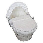 Cuddles Collection White Wicker Moses Basket (Dimple White)