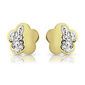 9ct Yellow Gold Flower-Shaped Crystal Studs Earring