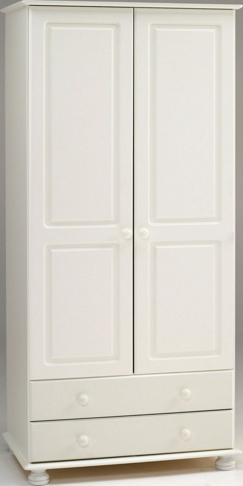 Home Essence Balham Wardrobe with 2 Drawers - White