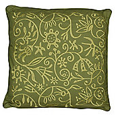 Flower Embroidered Cushion Green