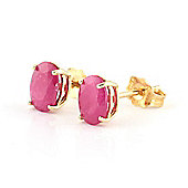 QP Jewellers 1.80ct Ruby Oval Stud Earrings in 14K Gold