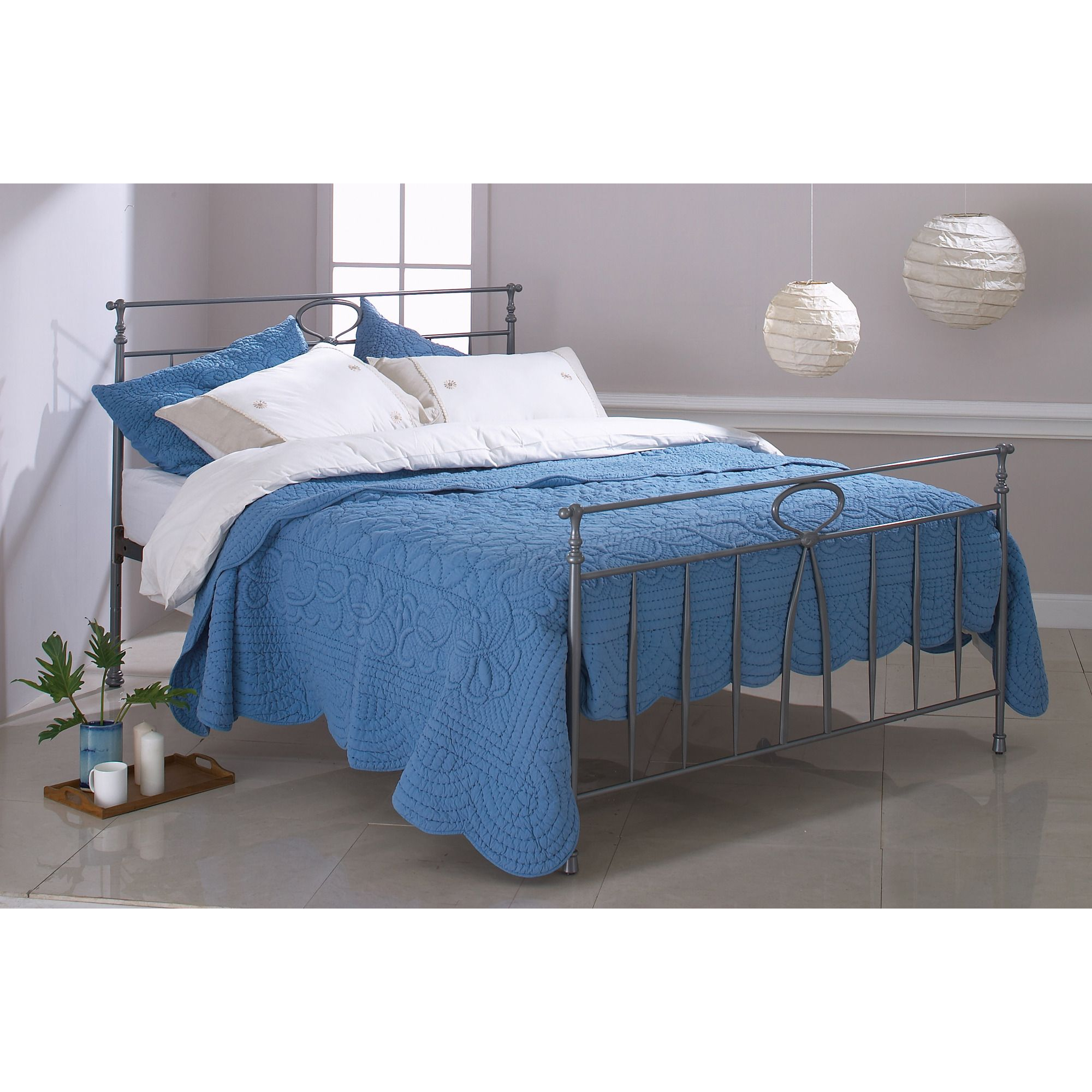 OBC Rora Bed Frame - King - Pewter at Tesco Direct