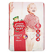TESCO LOVES BABY EASY FIT SIZE 6 EX LARGE CARRY PACK - 18 PANTS