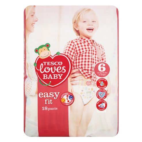 Tesco Loves Baby Easy-Fit Nappies - Size 6 - Extra Large - Carry Pack - 18 Pants