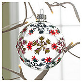 Gisela Graham Glass Bauble Snowflake Design Hanging Decoration