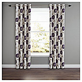 Poppy Floral Lined Eyelet Curtains - Plum