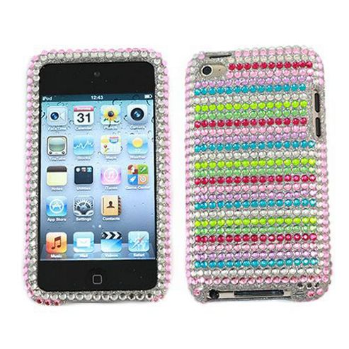 iTALKonline Premuim FunkGem Rainbow Delight 2 Part Case Pink/Blue/Yellow and Screen Protector - For  Apple iPod Touch 4