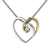 Sterling Silver and 9ct Gold Heart Pendant set with Cubic Zirconia Complete with Chain