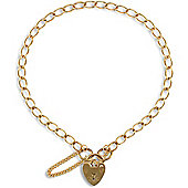 Jewelco London 9ct Solid Gold British made Ladies Charm Bracelet - heart padlock - 3.5mm Guage