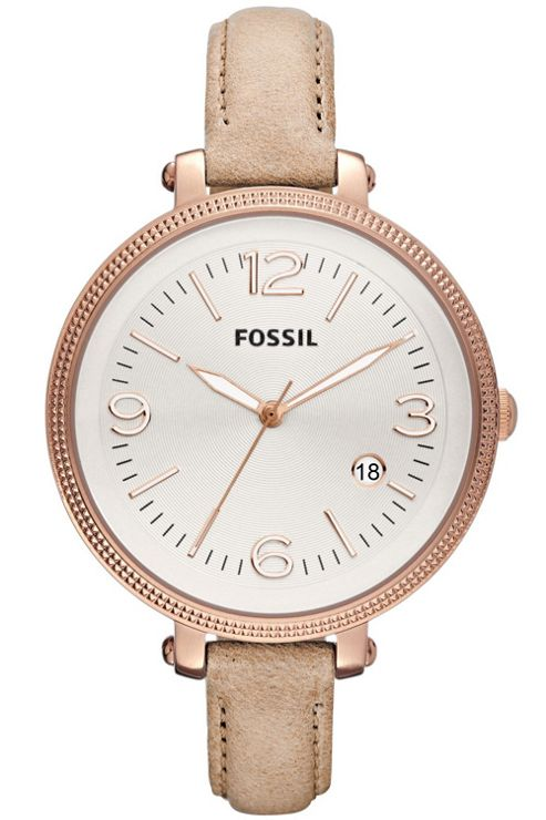 Fossil Ladies Large Bridgette Cream Leather Strap Watch ES3133
