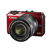 Canon EOS M (18MP) Digital SLR Camera 3.0 inch LCD (Red) + EF-M 18-55 Lens