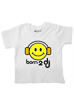 Dirty Fingers Born 2 DJ Baby T-shirt - White