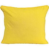 Homescapes Cotton Plain Yellow Scatter Cushion, 30 x 30 cm
