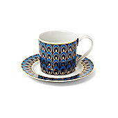 Pied A Terre Peacock Espresso Cup And Saucer In Blue