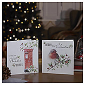 Robin and Postbox Christmas Cards, 10 pack
