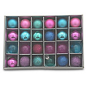 Set of 24 Mini Coloured Bauble Christmas Tree Decorations