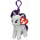 "TY Beanie 4"" Key Clip My Little Pony Rarity"