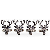 Set of Four Distressed Metal Stag's Head Napkin Rings