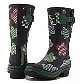 Evercreatures Ladies Short Gingham Wellies Floral Pattern 3