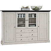 Home Essence Riviera 4 Glazed Door 3 Drawer Display Unit