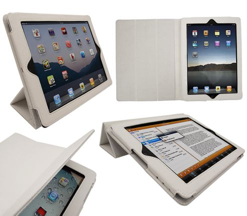iTALKonline 19639 PadWear Executive White Wallet Case With TRI-FOLD SMART TILT For Apple iPad 2 (Wi-Fi and 3G)