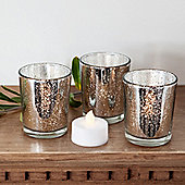 Set of 3 Silver Glass Battery LED Tea Light Candles