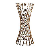 110cm Lattice Twisted Wood Floor Lamp, Cream & 80 Warm White LEDs