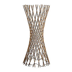 110cm Lattice Twisted Wood Floor Lamp in Cream with 80 Warm White LEDs