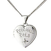 Silver Diamond Set Locket Pendant with Chain Message - 'Precious Pets'