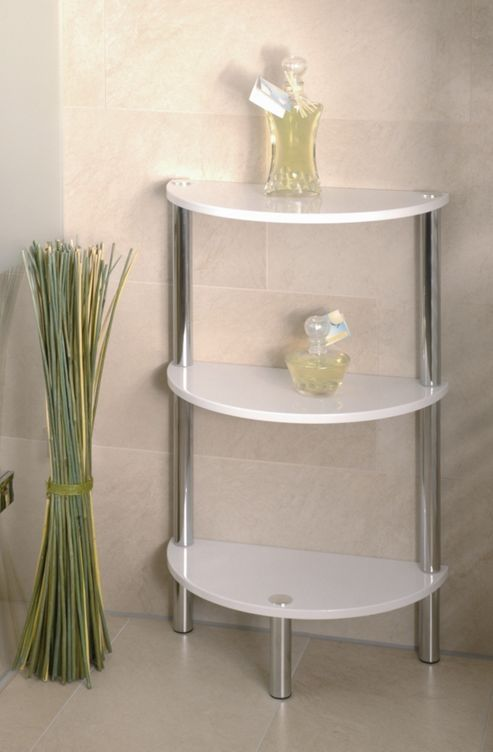 Urbane Designs Bellisima Shelf in High Gloss White / Chrome