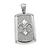 REAL Effect Rhodium Plated Sterling Silver White Cubic Zirconia Royal Dog Tag Charm Pendant - 16/18 inch