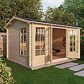13ft x 10ft (4m x 3m) Reverse Apex Log Cabin (Single Glazing) 44mm
