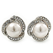 Bridal Diamante White Glass Peal Clip On Earrings In Rhodium Plating - 23mm Diameter
