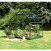 Halls 6x6 Supreme Greenframe Greenhouse + Base - Horticultural Glass