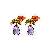 QP Jewellers Peridot & Amethyst Petite Galanthus Stud Earrings in 14K Rose Gold